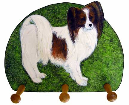 papillon red white dog leash key rack holder handmade gifts