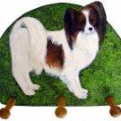 papillon red white dog leash key rack holder handmade gifts
