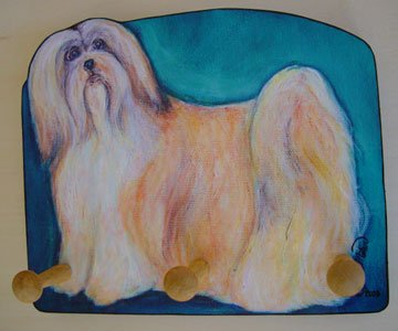 Leash Holder Lhasa Apso Dog leash rack key wood per holder