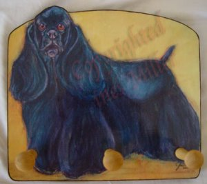 Black Cocker Spaniel  American COCKER  Dog portrait HANDMADE wood leash holder  rack key holder