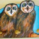 Owls Pueos Wildlife Owl wood leash holder rack key holder Handmade gift from paint