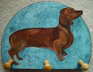 Red Doxie Dachshund Dog Leash Holder  key rack peg holder handmade gifts