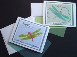 Whimsical Dragonfly Notecards Insect Dragon-fly Note-cards set 8