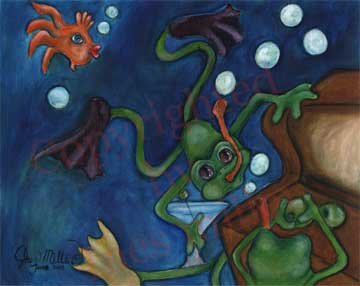 Diving Frog Orange fish treasure hunt Green Olives Outsider Surreal Surrealism Outsider Art Print
