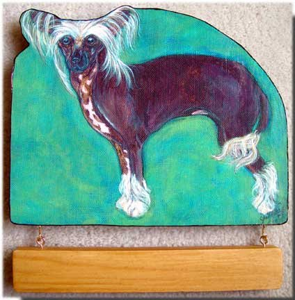 CHINESE CRESTED dog  handmade personalized wood sign doggy plaque