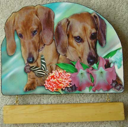 DACHSHUNDS butterfly tropical flowers personalized wood sign plaque RED doxies doggy