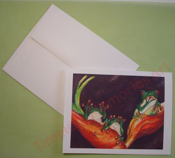 Frog red eyed froggies trio see hear talk no evil Notecards PERSONALIZED note-cards whimsical art