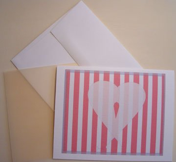 Notecards Heart & Stripes silhouette Personalized Note-cards Set 8 colored vellum partchment paper