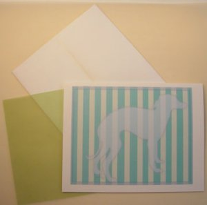 Greyhound dog portrait silhouette Personalized Notecards Custom linen paper Note-cards Hound dogs