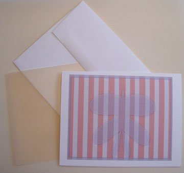 Butterfly portrait silhouette Personalized Notecards Orange white Whimsical stripes cards set8