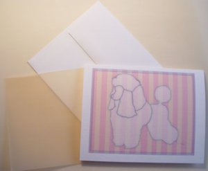 French Poodle dog silhouette Personalized Notecards Toy poodle dog cards