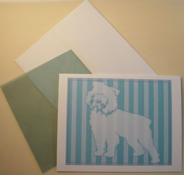 Brussels Griffon portrait silhouette Personalized Notecards Aqua blue whimsical dog art cards