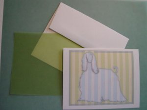 Afghan Dog silhouette portrait Personalized Notecards whimsical stripes Note-cards