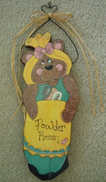 Bear POWDER ROOM TEDDY BEAR country cottage wood sign brown bath bear