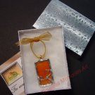 Handmade Glass pendant wire ornate design Orange PAPAYA soldered pendants  pendant necklace