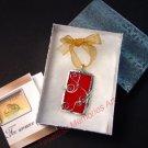 Glass Pendant necklace bracelet pendants handmade ornate wire design Valentine Red soldered pendant