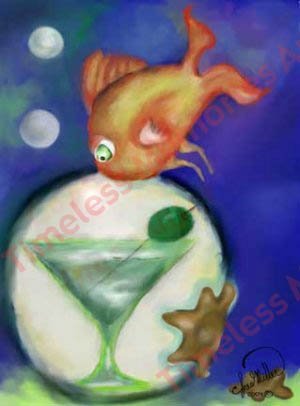 Orange Fish Martini drink cocktail Ocean bubble surreal whimsical art print