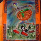 greeting Card pumpkin flying kite tuxedo cat Kitty Halloween handmade greeting cards surreal