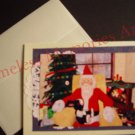 bunny on Santa's lap handmade Santa Claus GREETING CARD Christmas card warm xmas