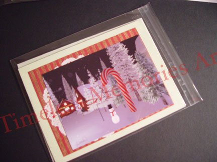Greeting Card Snowman CANDY CANE white christmas Handmade card whimsical greeting cards