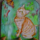 Cat Orange Tabby kitty  stripes Monarch butterfly Key Leash Rack Holder