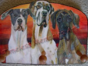 Great Dane trio Dog Key Leash Rack Holder Gentle Giant doggies