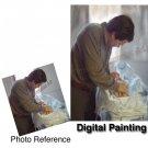 Commissioned Digital Portrait painting custom Portraiture Size 11 X 14 DIGITAL ART