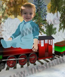 Custom child photo Montage CHOO CHOO train winter wonderland CHRISTMAS card digital download