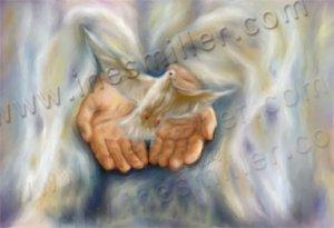 Dove God hands White dove release Digital art painting  print