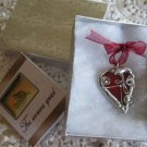 Handmade wearable art heart pendant soldered glass pendants red rears valentine red heart daisy