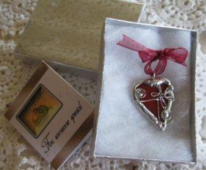 Handmade wearable art heart pendant soldered glass pendants red rears valentine red heart daisy