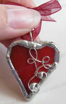 Red heart valentine soldered glass pendant  handmade  jewelry  whimsical  wearable jewelry art