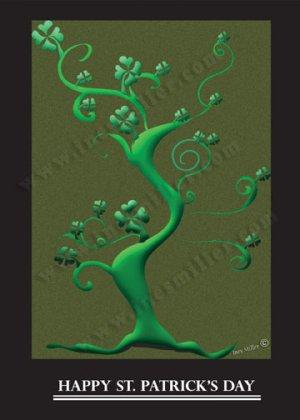 shamrock luck Shamrocks Irish  tree Personalized Custom name art print St. Patrick's