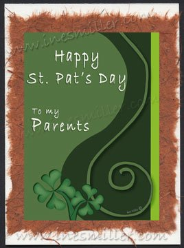 St. Patrick's day Greeting Card Parents Card  curly shamrock Handmade cards