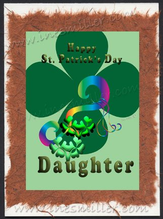 St. Patrick's day Greeting Card Rainbow DAUGHTER personalized Irish shamrocks handmade card