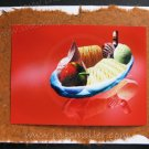 Greeting card Handmade Banana Paper STRAWBERRY dessert Ice cream whimsical illustration CustomCards