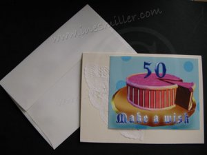 Make a Wish 50th Birthday handmade card Personalized 50 birthday Pink Cake greeting card paper Doily