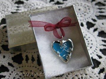 HEART soldered glass blue heart pendant handmade jewelry whimsey fashion jewelry