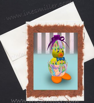 Handmade greeting card EASTER duck egg duckling hand made cards