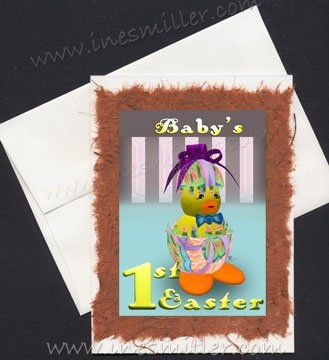 Baby's First EASTER handmade greeting card whimsical easter egg hatched duck orange feetduckling