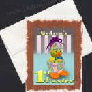 GODSON'S First Easter Hand made greeting card baby duckling Orange feet whimsical cards