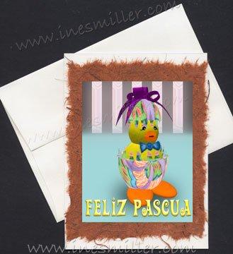 FELIZ Pascua Spanish HAPPY EASTER Handmade Greeting card egg duckling