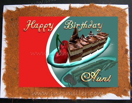 AUNT Handmade Greeting cardS AUNT CHOCOLATE FUDGE CAKE CHERRY whimsey art design
