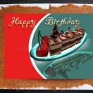 Handmade Greeting Card Desert cherry Chocolate Cake whimsical blank whimsical personalized cards