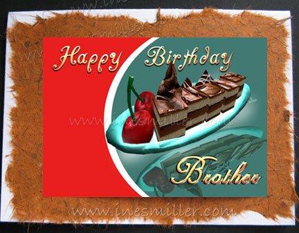 BROTHER Happy Birthday Card handmade greeting cards Chocolate Cake Cherry