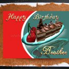BROTHER Happy Birthday Card handmade greeting cards Chocolate Cake Cherry