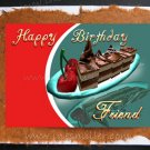 FRIEND Happy Birthday Greeting Card Chocolate cake Cherry dessert custom card