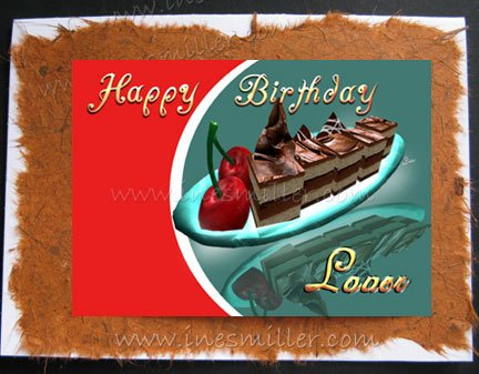 Lesbian- Gay Greeting Card LOVER Handmade cards Chocolate fudge cake cherry whimsical design
