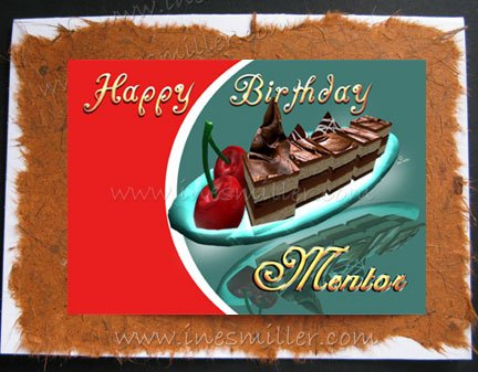 MENTOR Happy Birthday Card Chocolate Cake Cherry Hand made Greeting Cards