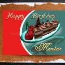 MENTOR Happy Birthday Card Chocolate Cake Cherry Hand made Greeting Cards